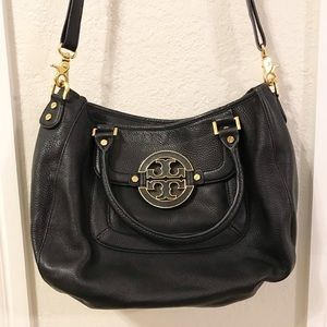 Tory Burch Black and Gold Satchel Purse